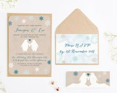 Rustic Penguin  Snowflake Wedding Invitation Bundle