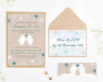 Rustic Penguin & Snowflake Wedding Invitation Bundle