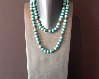 Turquoise bead necklace, long turquoise necklace, long beaded necklace, chunky turquoise necklace, wrap necklace beaded