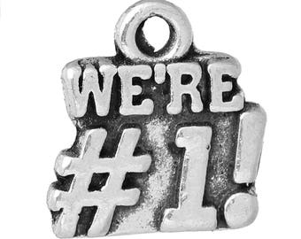 "10 PCs Antique Silver "" WE'RE #1! "" Charms, 14mm( 4/8"") x 13mm( 4/8"")"