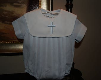 Baptismal/Easter/Christening Heirloom Baby Blue Pleated Monogrammed /Cross Bubble with White Collar For You Baby Boy