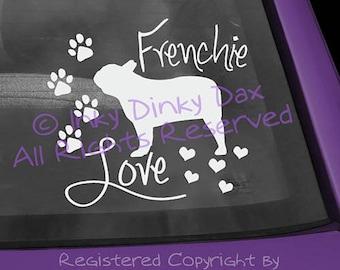 French Bulldog Love Vinyl Decal