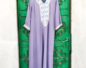 Lilac chiffon embroidered kaftan