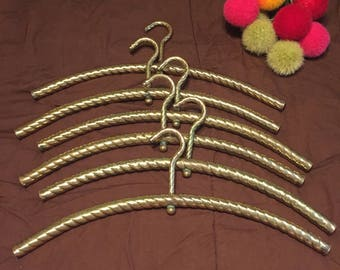 Vintage BRASS CLOTHES HANGERS, 6 Total, Twisted Brass Clothes Hangers, Weddings, Shop Display, Photo Prop at Ageless Alchemy