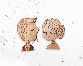 MOVIES : Princess Leia + Han Solo Brooch Pin
