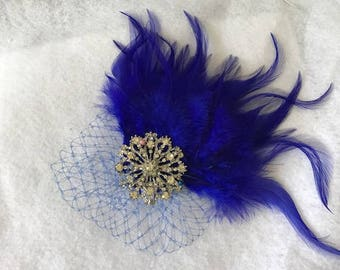 1920 Gatsby vintage style Royal blue Feather fascinator Hair Clip or Headband, Bridesmaids Hair Accessories, Bohemian Feather Fascinator