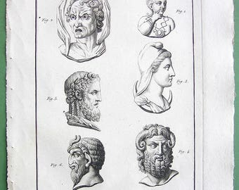 GODS & DEITIES Harpocrates (God of silence) Typhon Luna Jupiter-Ammon Jupiter-Dodonaeus Satyr (Faun). - 1804 Copperplate Engraving