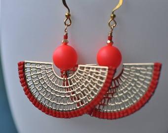 Red Delica miyukis, Neon red Swarovski Big beads, Lasercut gold fan shaped pieces, very light, beautiful beaded earrings, handmade