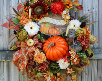 Welcome Friends Deluxe Fall Sunflower Wreath, XL Autumn Pumpkin Wreath, Fall Floral Decor, Floral Wreath, Wisteria Tuscan Floral arrangement