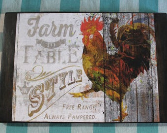 """Rustic Farmhouse """"Farm to Table"""" Rooster Wood Sign/Plaque"""