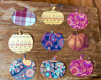Plaid, paisley and assorted pumpkin cut outs die cuts