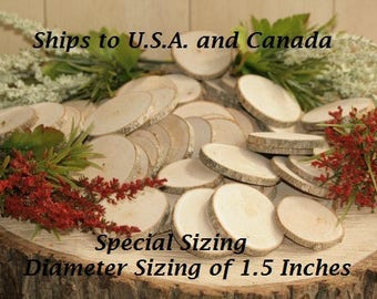 Ships To CANADA: Wood Name Tags-250 Quantity 1.5 inch Diameter  -COMPLETELY Dried and Sanded Wood Tree Slice- Name Tags-Free Drilling