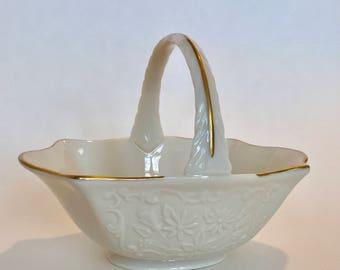 Lenox Basket / VINTAGE LENOX Ivory Sans Souci Basket with 24 kt. Gold Trim / Lenox Porcelain Basket Candy Dish