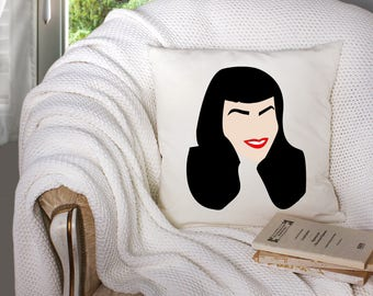 throw pillow covers - bettie page artwork - pinup girl artwork - vintage pinup girl - decorative throw pillow . throw pillow with words -