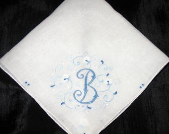 Monogrammed handkerchief wedding, Something Blue Initial M, H, E,  D or B Wedding, Bride Vintage Hanky Bridal Something Old