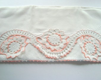 Vintage white and peach pillowcase