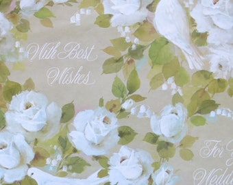 Vintage Gibson WEDDING Wrapping Paper - Gift Wrap - White DOVES and ROSES - 1960s