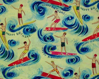Vintage Carrington Mid-Century BIRTHDAY Gift Wrap - Wrapping Paper - Teen SURFERS - 1960s