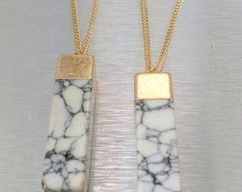 10% off CIJ SALE Howlite Necklace Gemstone Necklace White Marble Necklace White Stone Necklace Howlite Bar Necklace Boho Necklace Layered Ne