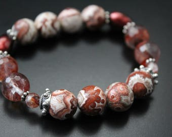 Boho bracelet - boho jewelry - Rosetta lace agate gemstone bracelet - fall colors quartz bracelet - rustic boho stretch stacking bracelet