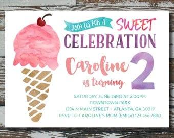 Ice Cream Party Birthday - Custom Printable