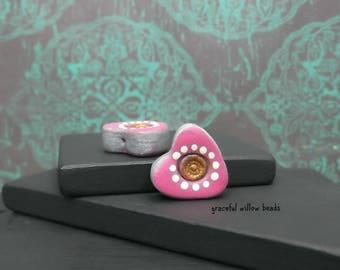 Polymer Polka Dot Heart Bead - Pink Silver Bronze Ivory Polka Dot - Bohemian Heart Bead Pair - 14x14mm - Pkg. 2