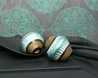Painted Wood Bicone Focal Bead - Turquoise Black Brass Ivory Stripe - Moroccan Style Wood Bead - 23mm - Pkg. 2