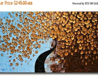 SALE Original Modern  Gold  Flowers  Heavy  Impasto  Texture  Palette Knife Acrylic   Painting.Made2Order