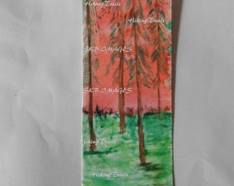 Hand Painted Bookmark, Sunset Woods, woodland style, hand painted,sunset art, forest art, Fine Art Watercolor by Sharon at HikingTrails