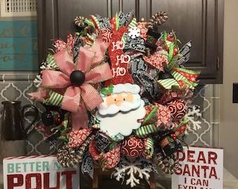 Christmas wreath, Santa Wreath, door Decor, Christmas Decor, Christmas decorations