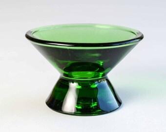 Iittala Kartio Green Glass Candle Holder Designed by Kaj Franck