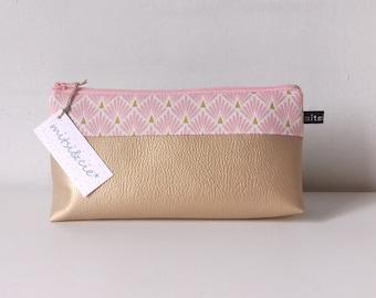 Trousse à maquillage en simili cuir doré et tissu *écailles roses*