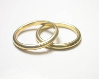 Two 18k Yellow Gold Band Rings - Size 7 - Pair of Gold Bands - Weight 6.6 Grams - Wedding - Engagement - Promise # 788