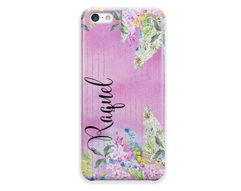 Purple flowers phone case, Faux glitter stripes, Monogrammed gift for women, Fits iPhone 4/4s 5/5s 6/6s 7 8 5c SE X and Plus (1770)