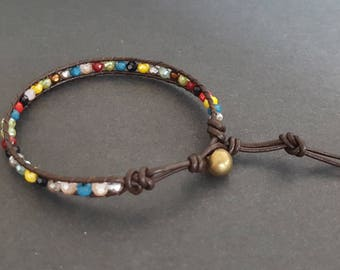 Colorful Crystal  Brown   Leather  Anklet