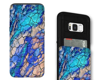 Blue Abstract Galaxy S8 Card holder Case - Desert Memories - Credit Card Wallet Case for Samsung Galaxy S8 with Rubber Sides