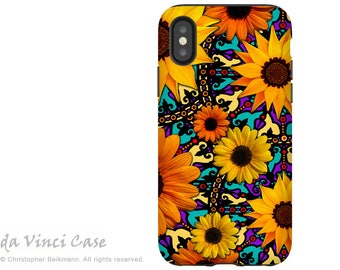 Colorful Sunflower iPhone X Tough Case - Dual Layer Protection for iPhone 10 - Sunflower Talavera -  by Da Vinci Case