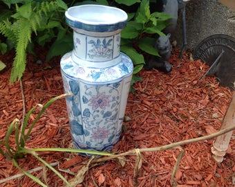 Vintage Chinese Vase Birds ,  Flower Blossoms & Vines