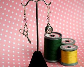 Scissor Earrings, Button Earrings, Sewing Earrings, Crafters Jewellery, Seamstress Earrings, Mismatched Earrings, Pink Earrings, Buttons