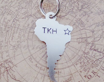 South America Key Chain with Short Message or Quote-  Handmade - personalized