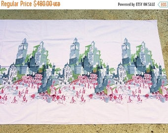 ON SALE Vintage 1950's Novelty Border Print Fabric Urban Sketch Cityscape, Black, Grey, Red ,and Olive Green, Pink, Mid Century Modern