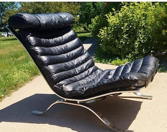 "ON SALE Vintage 1960's Arne Norell ""Ari""Lounge Chair in Black Leather by Norell Mobel"