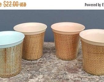 ON SALE Vintage Melmac and Raffiaware Coffee Mugs, Set of Four, Insulated Mug, Raffia, Wicker, Thermal Mugs, Woven Grass, Plastic, Turquoise