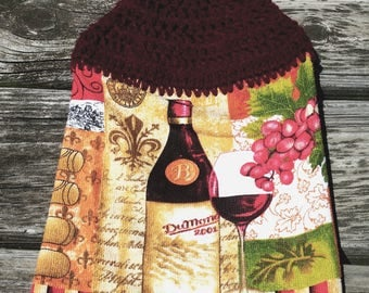 Crochet Top Towel, Hanging Hand Towel, Kitchen Towel, Dish Towel, Coffee Towel, Wine Country Themed Towel