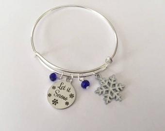 Let It Snow  - Adjustable Bangle Charm Bracelet - handmade