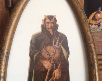 Vintage Halloween Devil Demon  Christmas Krampus Austrian Scrap Early 1900 Gilded Gold Chippy Oval Frame Old Xmas Decor Wall Hanging Display