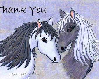 Horses Thank You Cards /  Greeting Cards - Note Cards with White Envelopes.