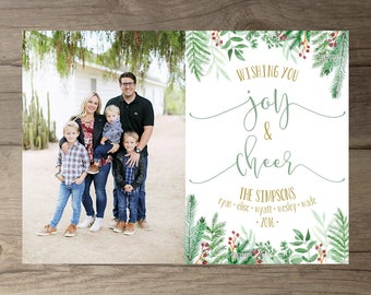 Joy and Cheer Leafy Floral Christmas Cards / Christmas Card with Photo / May your days be merry and bright / Winter Branches / Printable