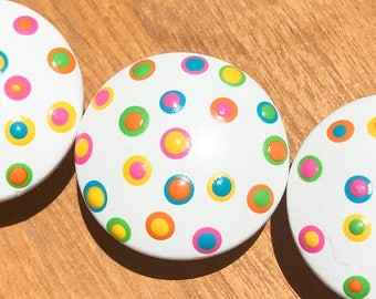 Huge Summer Sale CLEARANCE White Knob with Neon Bright and Colorful Polka Dots Drawer Knobs for Dresser Drawers Closet Doors great for girls