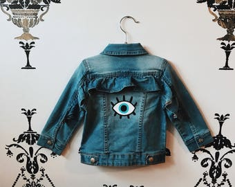 Handpainted Evil Eye Denim Ruffle Jacket (Any size)